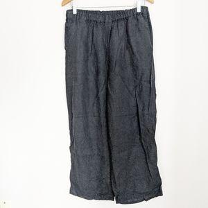 Flax Black 100% Linen Pull-On Elastic Waist Pants